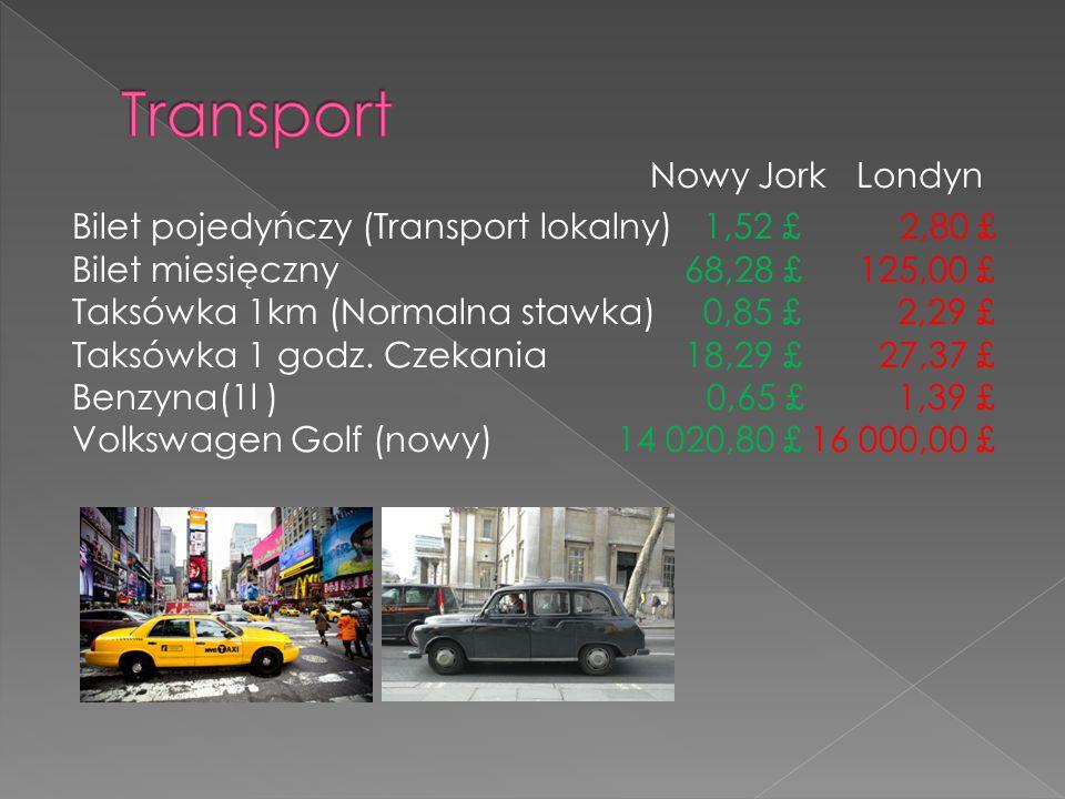 Nowy Jork Londyn Bilet pojedyńczy (Transport lokalny)1,52 £ 2,80 £ Bilet miesięczny 68,28 £ 125,00 £ Taksówka 1km (Normalna stawka)0,85 £ 2,29 £ Taksówka 1 godz.