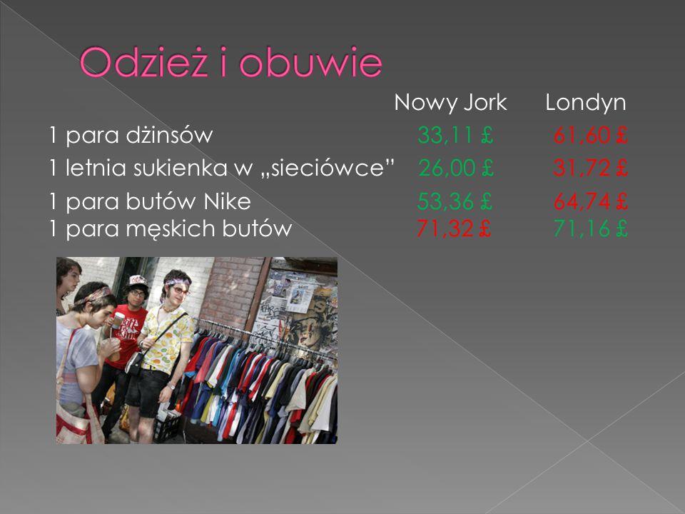 """Nowy Jork Londyn 1 para dżinsów 33,11 £ 61,60 £ 1 letnia sukienka w """"sieciówce"""" 26,00 £ 31,72 £ 1 para butów Nike 53,36 £ 64,74 £ 1 para męskich butów"""
