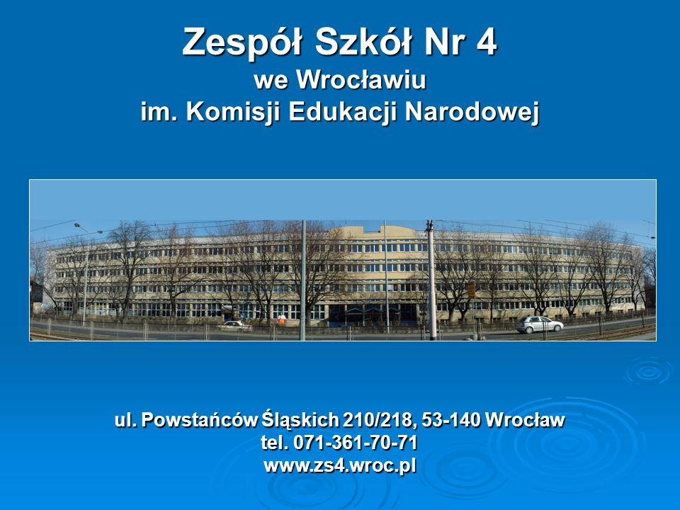 Zespół Szkół Nr 4 we Wrocławiu Klasy sportowe 98 zawodników na 348 uczniów, co stanowi 28,2% 195 zawodników na 293 uczniów, co stanowi 66,6% GIMNAZJUMLICEUMogólnokształcące