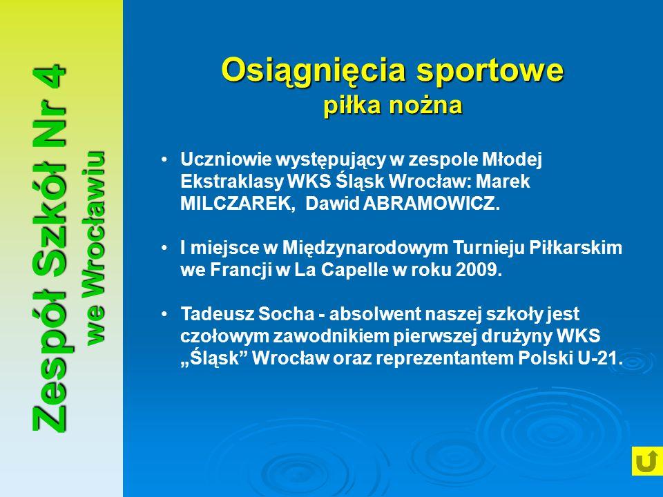 Zespół Szkół Nr 4 we Wrocławiu Osiągnięcia sportowe piłka nożna Uczniowie występujący w zespole Młodej Ekstraklasy WKS Śląsk Wrocław: Marek MILCZAREK,
