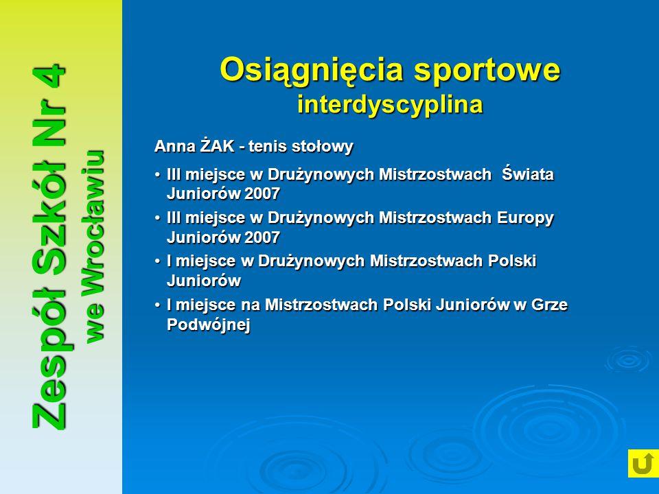 Zespół Szkół Nr 4 we Wrocławiu Osiągnięcia sportowe interdyscyplina Anna ŻAK - tenis stołowy III miejsce w Drużynowych Mistrzostwach Świata Juniorów 2