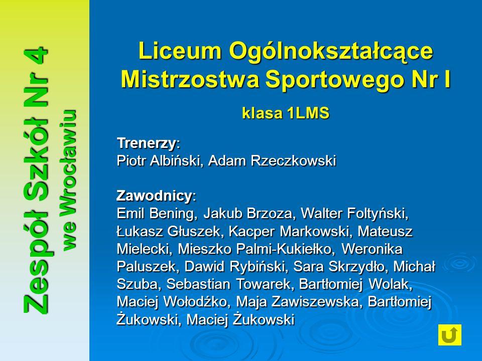 Zespół Szkół Nr 4 we Wrocławiu Liceum Ogólnokształcące Mistrzostwa Sportowego Nr I klasa 1LMS Trenerzy: Piotr Albiński, Adam Rzeczkowski Zawodnicy: Em