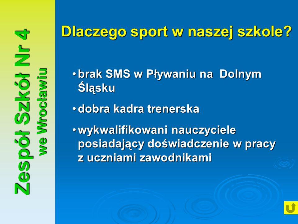 Zespół Szkół Nr 4 we Wrocławiu Dlaczego sport w naszej szkole? brak SMS w Pływaniu na Dolnym Śląskubrak SMS w Pływaniu na Dolnym Śląsku dobra kadra tr