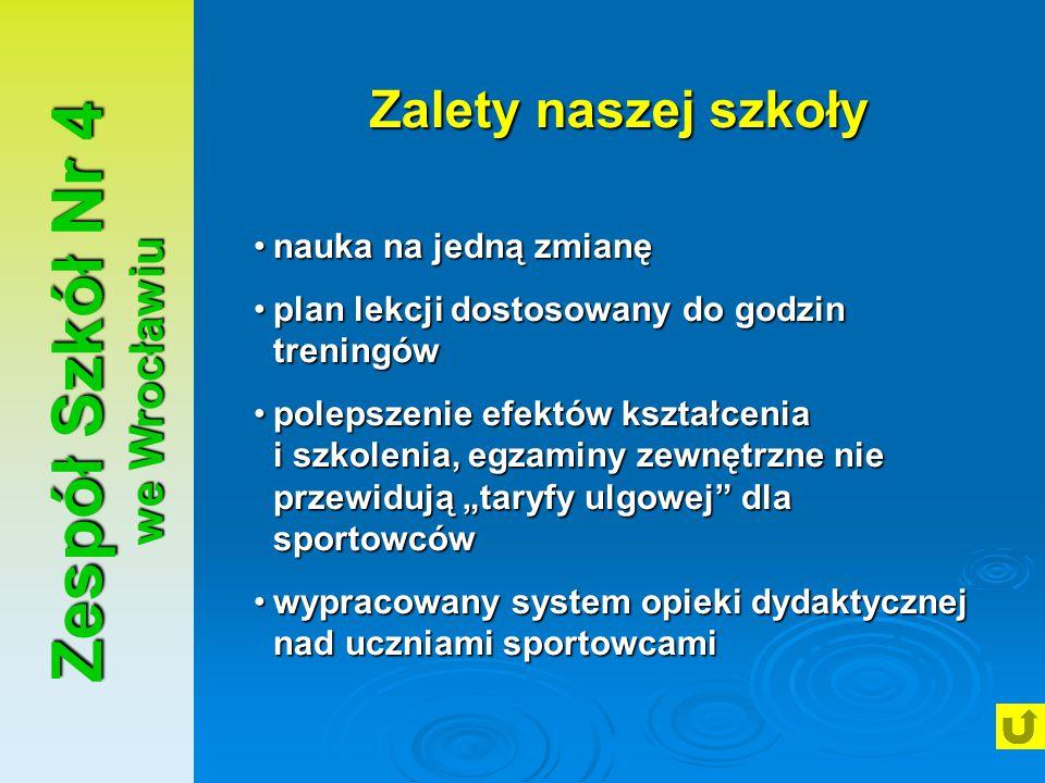 Zespół Szkół Nr 4 we Wrocławiu Zalety naszej szkoły nauka na jedną zmianęnauka na jedną zmianę plan lekcji dostosowany do godzin treningówplan lekcji