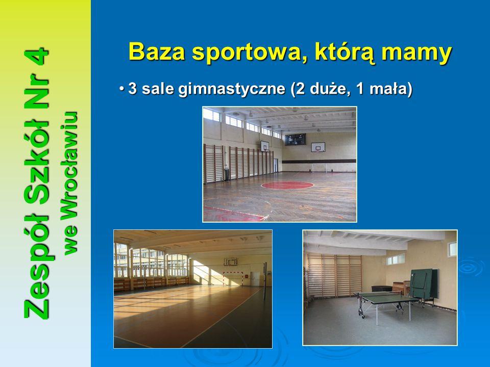 Zespół Szkół Nr 4 we Wrocławiu Baza sportowa, którą mamy 3 sale gimnastyczne (2 duże, 1 mała)3 sale gimnastyczne (2 duże, 1 mała)