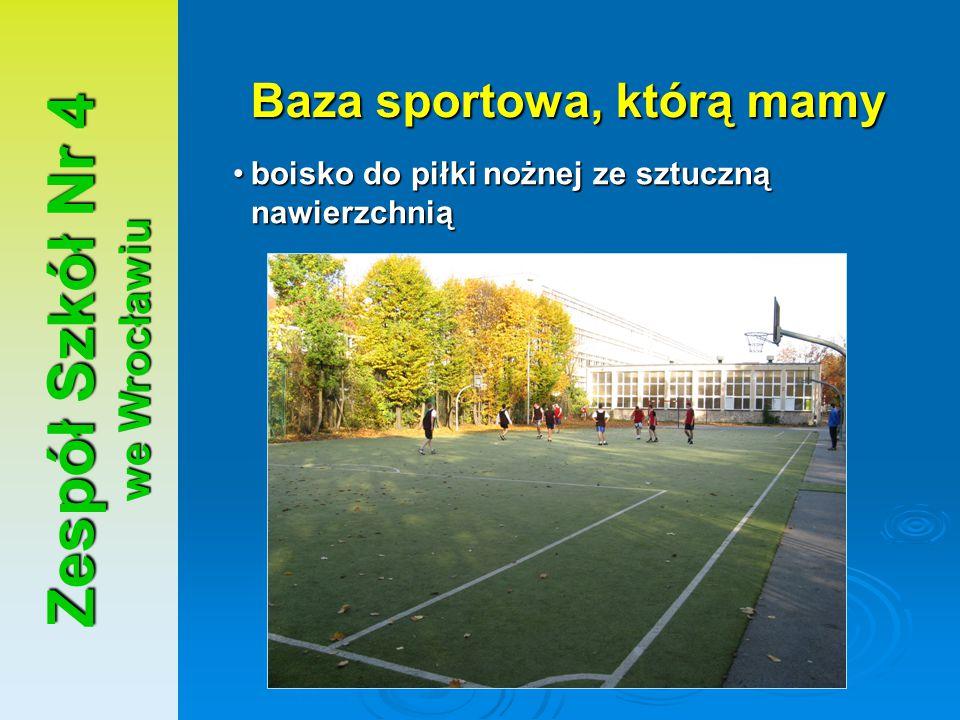 Zespół Szkół Nr 4 we Wrocławiu Baza sportowa, którą mamy boisko do piłki nożnej ze sztuczną nawierzchniąboisko do piłki nożnej ze sztuczną nawierzchni