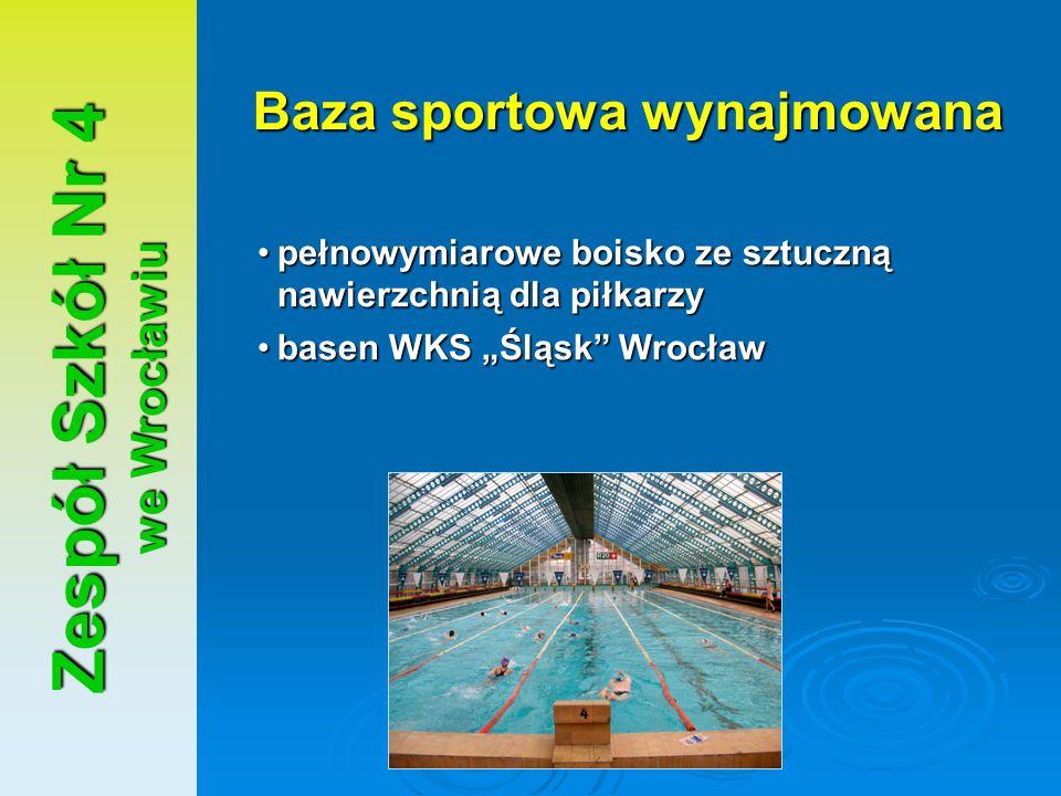 Zespół Szkół Nr 4 we Wrocławiu Baza sportowa wynajmowana pełnowymiarowe boisko ze sztuczną nawierzchnią dla piłkarzypełnowymiarowe boisko ze sztuczną