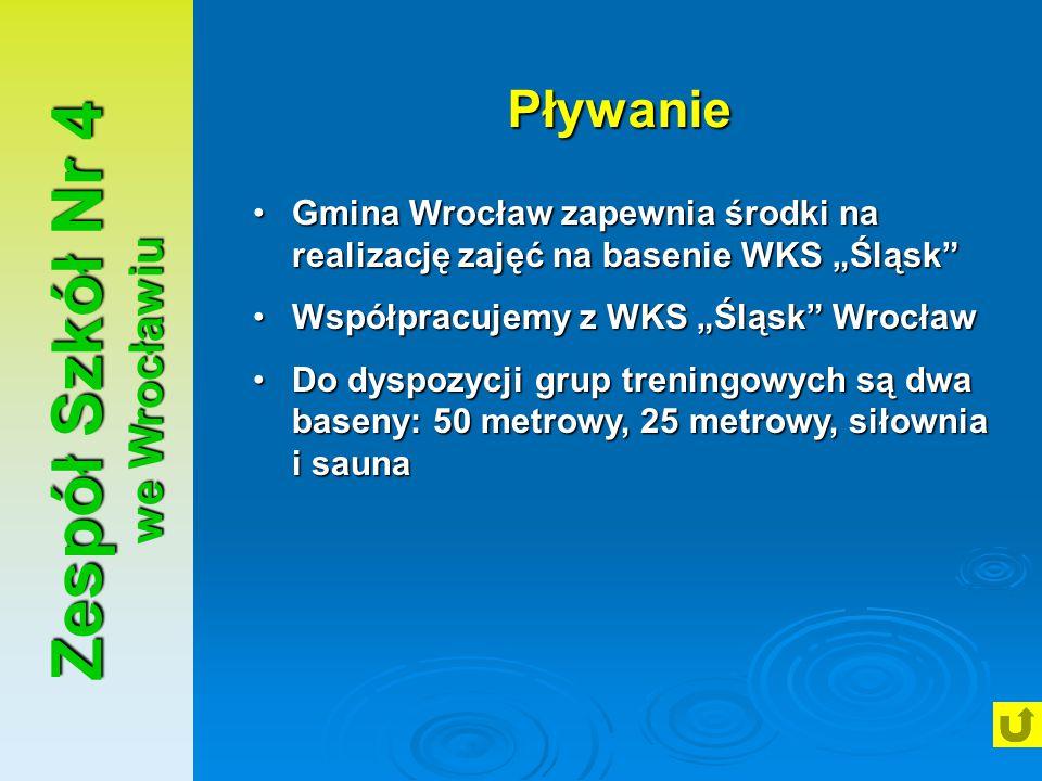 """Zespół Szkół Nr 4 we Wrocławiu Pływanie Gmina Wrocław zapewnia środki na realizację zajęć na basenie WKS """"Śląsk""""Gmina Wrocław zapewnia środki na reali"""