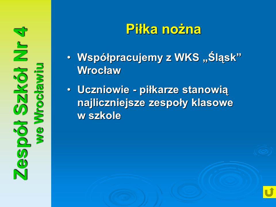 """Zespół Szkół Nr 4 we Wrocławiu Piłka nożna Współpracujemy z WKS """"Śląsk"""" WrocławWspółpracujemy z WKS """"Śląsk"""" Wrocław Uczniowie - piłkarze stanowią najl"""