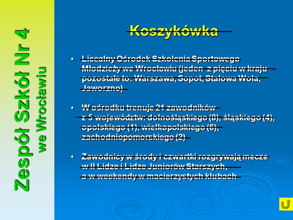 Zespół Szkół Nr 4 we Wrocławiu Koszykówka Licealny Ośrodek Szkolenia Sportowego Młodzieży we Wrocławiu (jeden z pięciu w kraju – pozostałe to: Warszaw