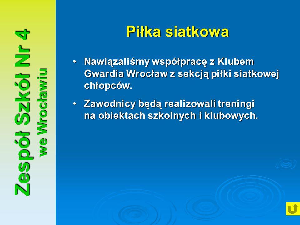 Zespół Szkół Nr 4 we Wrocławiu Piłka siatkowa Nawiązaliśmy współpracę z Klubem Gwardia Wrocław z sekcją piłki siatkowej chłopców.Nawiązaliśmy współpra