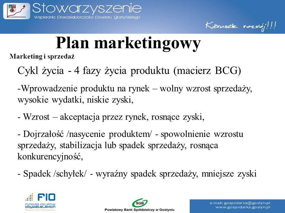 Plan marketingowy Cykl życia - 4 fazy życia produktu (macierz BCG) -Wprowadzenie produktu na rynek – wolny wzrost sprzedaży, wysokie wydatki, niskie z