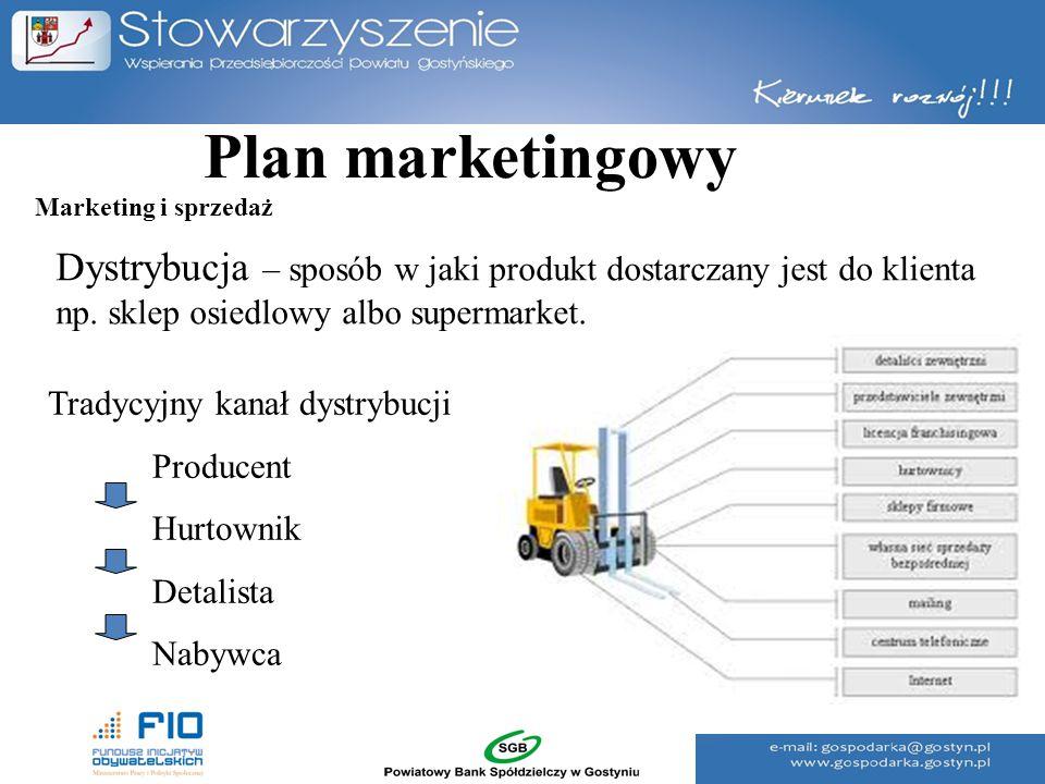 Plan marketingowy Dystrybucja – sposób w jaki produkt dostarczany jest do klienta np. sklep osiedlowy albo supermarket. Tradycyjny kanał dystrybucji P