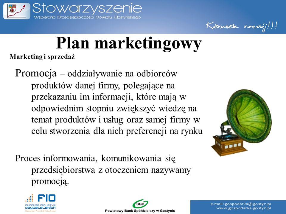 Plan marketingowy Promocja – oddziaływanie na odbiorców produktów danej firmy, polegające na przekazaniu im informacji, które mają w odpowiednim stopn