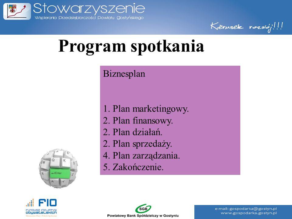 Program spotkania Biznesplan 1. Plan marketingowy. 2. Plan finansowy. 2. Plan działań. 2. Plan sprzedaży. 4. Plan zarządzania. 5. Zakończenie.