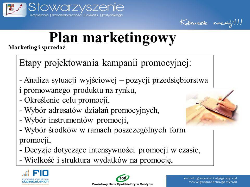 Plan marketingowy Etapy projektowania kampanii promocyjnej: - Analiza sytuacji wyjściowej – pozycji przedsiębiorstwa i promowanego produktu na rynku,