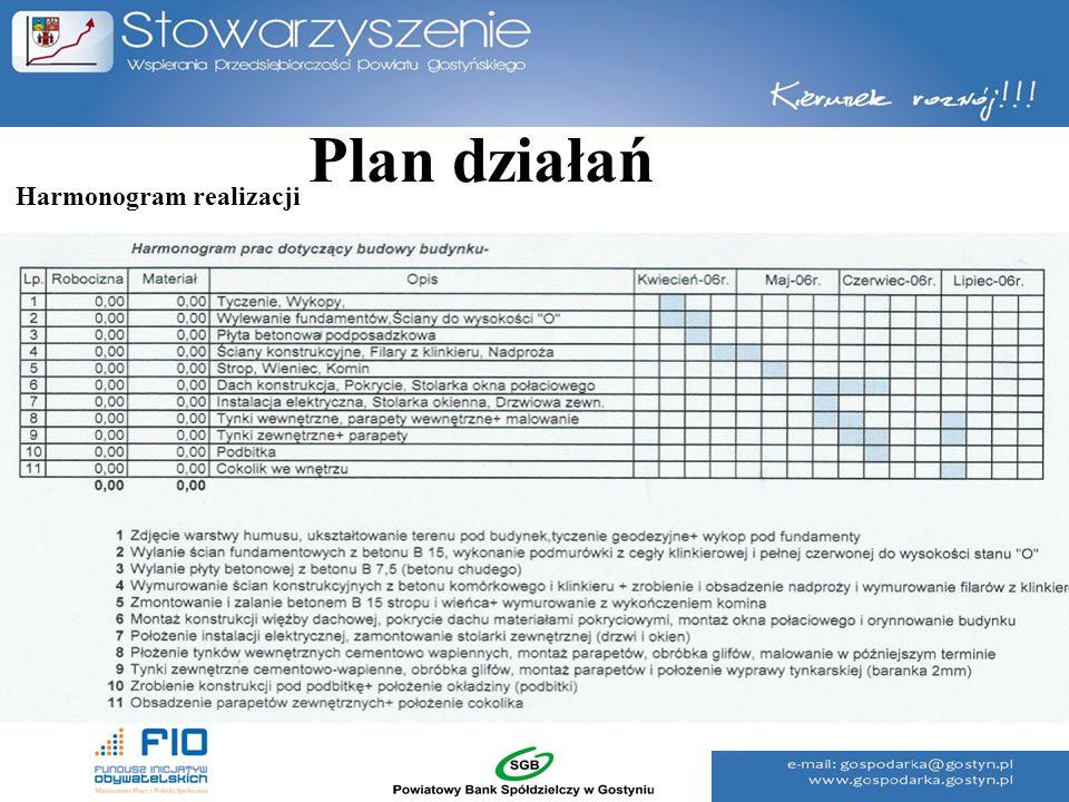 Plan działań Harmonogram realizacji