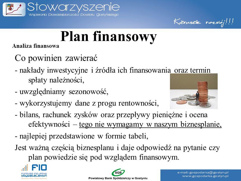 Plan finansowy Co powinien zawierać - nakłady inwestycyjne i źródła ich finansowania oraz termin spłaty należności, - uwzględniamy sezonowość, - wykor