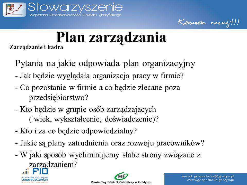 Plan zarządzania Pytania na jakie odpowiada plan organizacyjny - Jak będzie wyglądała organizacja pracy w firmie? - Co pozostanie w firmie a co będzie