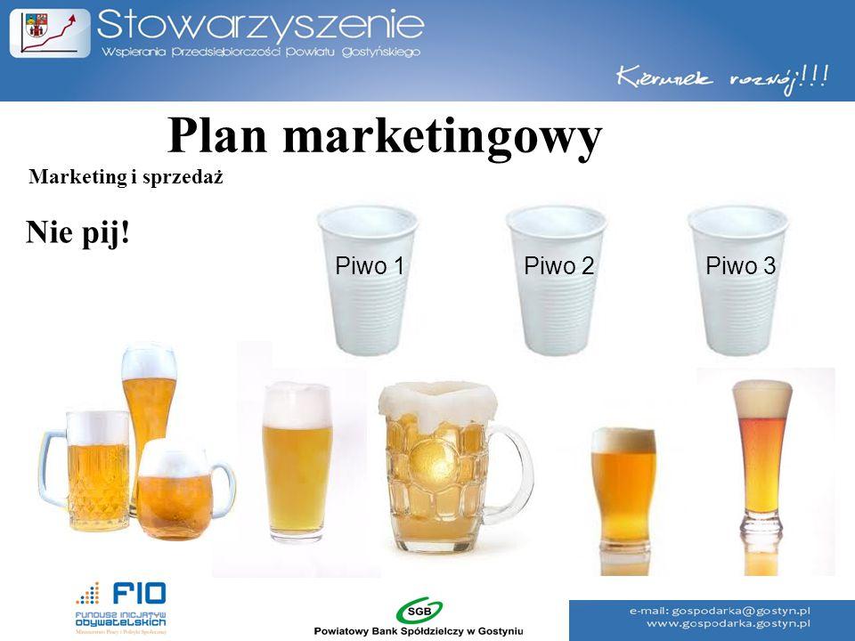 Plan marketingowy Nie pij! Piwo 1Piwo 2Piwo 3 Marketing i sprzedaż