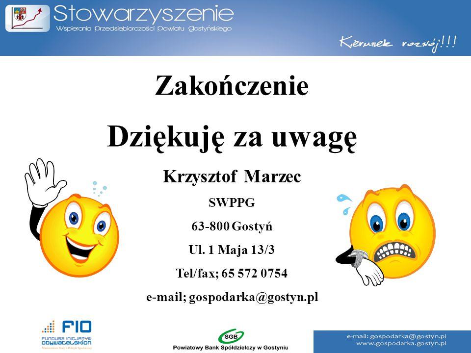 Zakończenie Dziękuję za uwagę Krzysztof Marzec SWPPG 63-800 Gostyń Ul. 1 Maja 13/3 Tel/fax; 65 572 0754 e-mail; gospodarka@gostyn.pl
