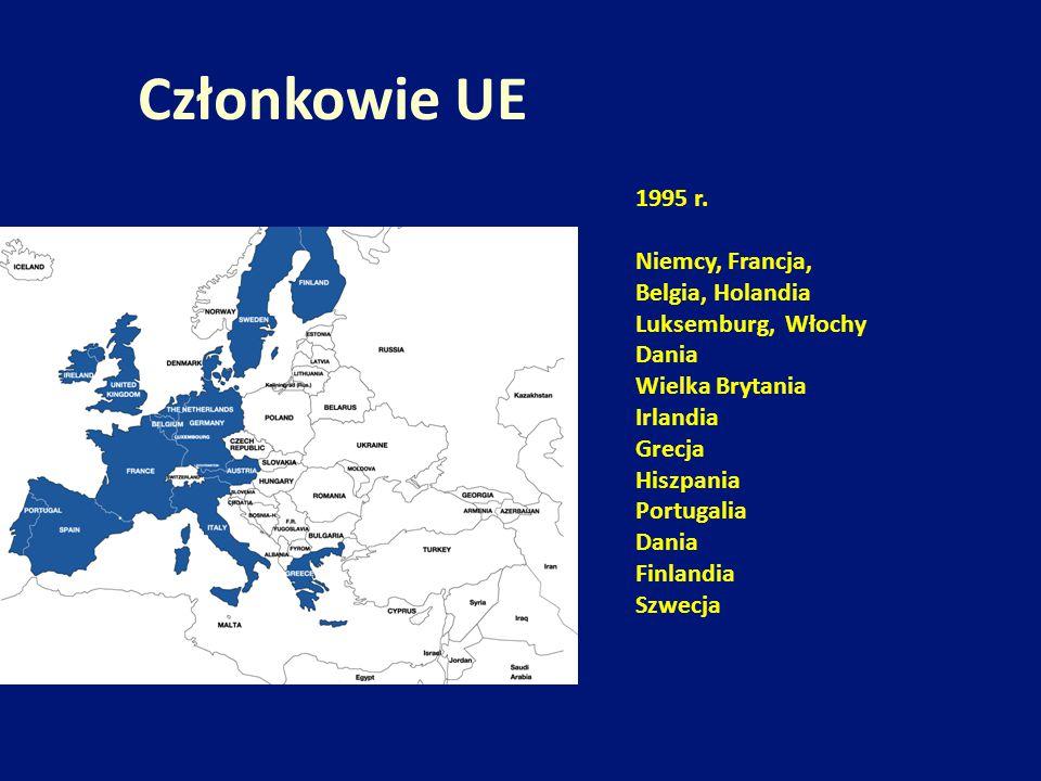 1995 r. Niemcy, Francja, Belgia, Holandia Luksemburg, Włochy Dania Wielka Brytania Irlandia Grecja Hiszpania Portugalia Dania Finlandia Szwecja Członk