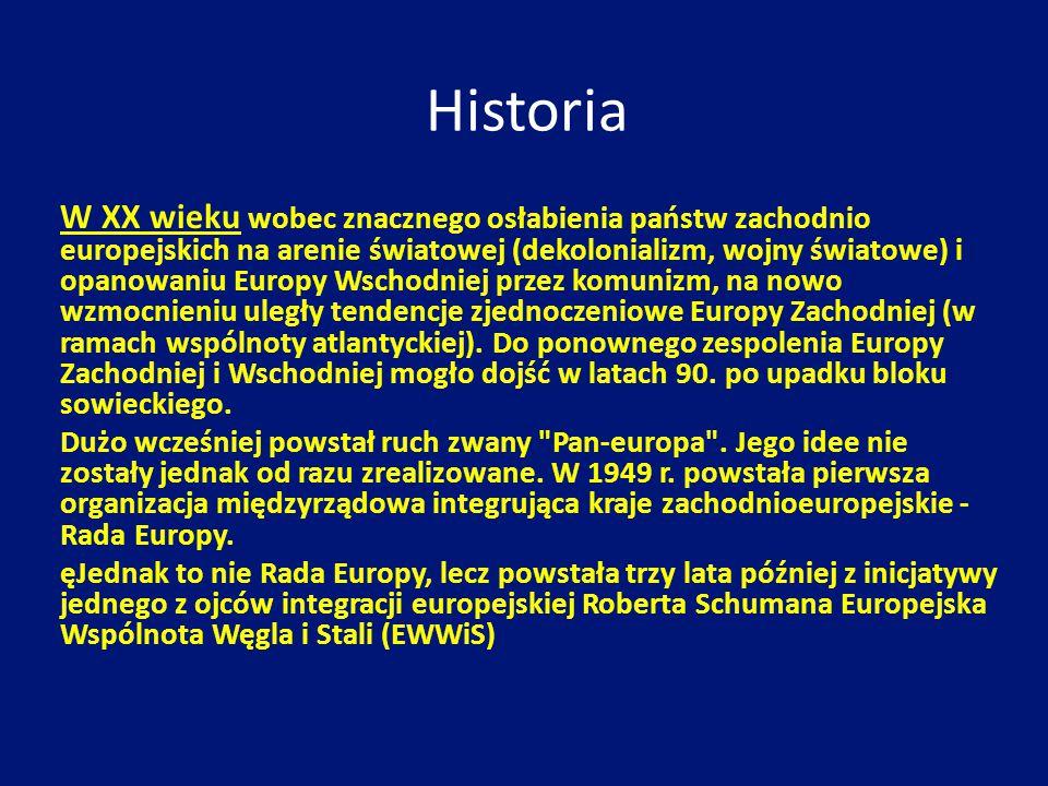 Historia W XX wieku wobec znacznego osłabienia państw zachodnio europejskich na arenie światowej (dekolonializm, wojny światowe) i opanowaniu Europy W