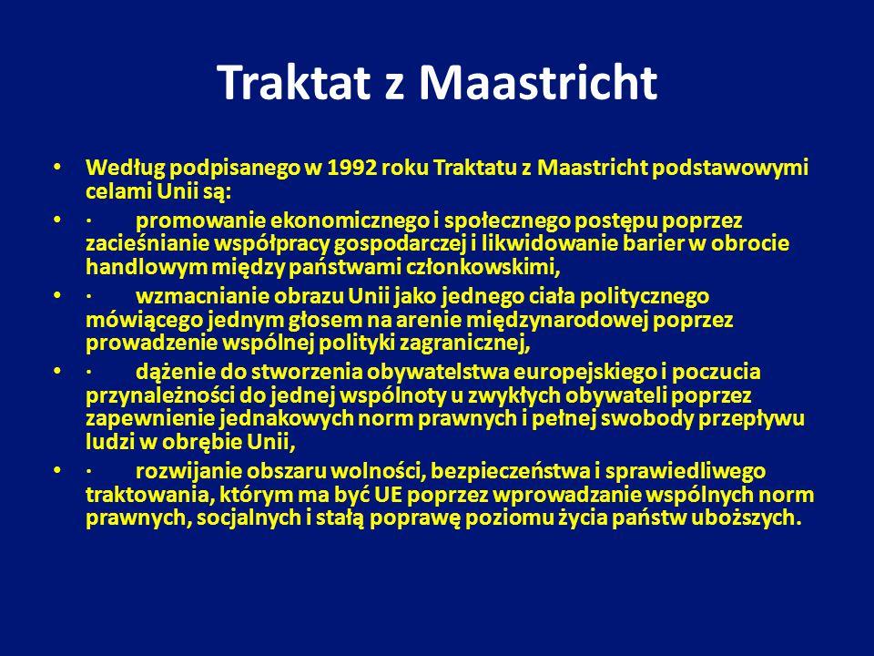 Traktat z Maastricht Według podpisanego w 1992 roku Traktatu z Maastricht podstawowymi celami Unii są: · promowanie ekonomicznego i społecznego postęp