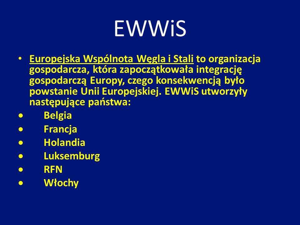 EWWiS Europejska Wspólnota Węgla i Stali to organizacja gospodarcza, która zapoczątkowała integrację gospodarczą Europy, czego konsekwencją było powst