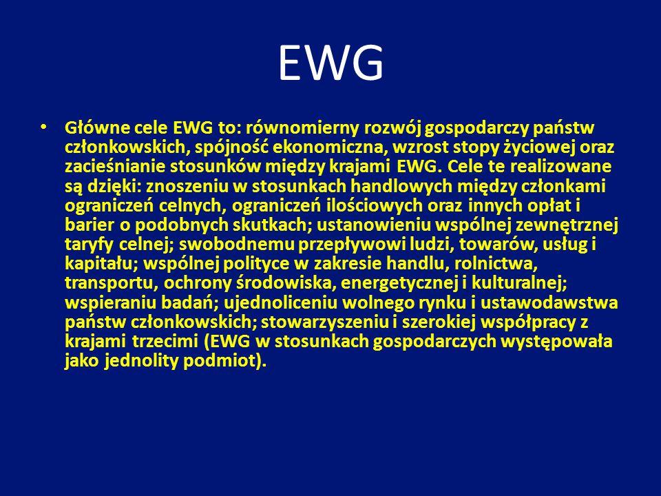 EWG Główne cele EWG to: równomierny rozwój gospodarczy państw członkowskich, spójność ekonomiczna, wzrost stopy życiowej oraz zacieśnianie stosunków m