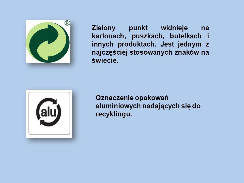 Zielony punkt widnieje na kartonach, puszkach, butelkach i innych produktach.