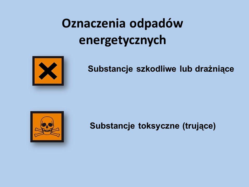 Oznaczenia odpadów energetycznych Substancje szkodliwe lub drażniące Substancje toksyczne (trujące)