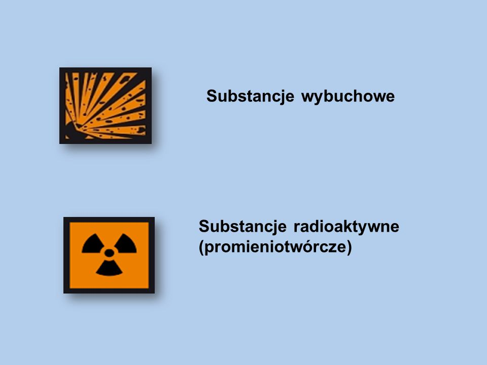 Substancje wybuchowe Substancje radioaktywne (promieniotwórcze)