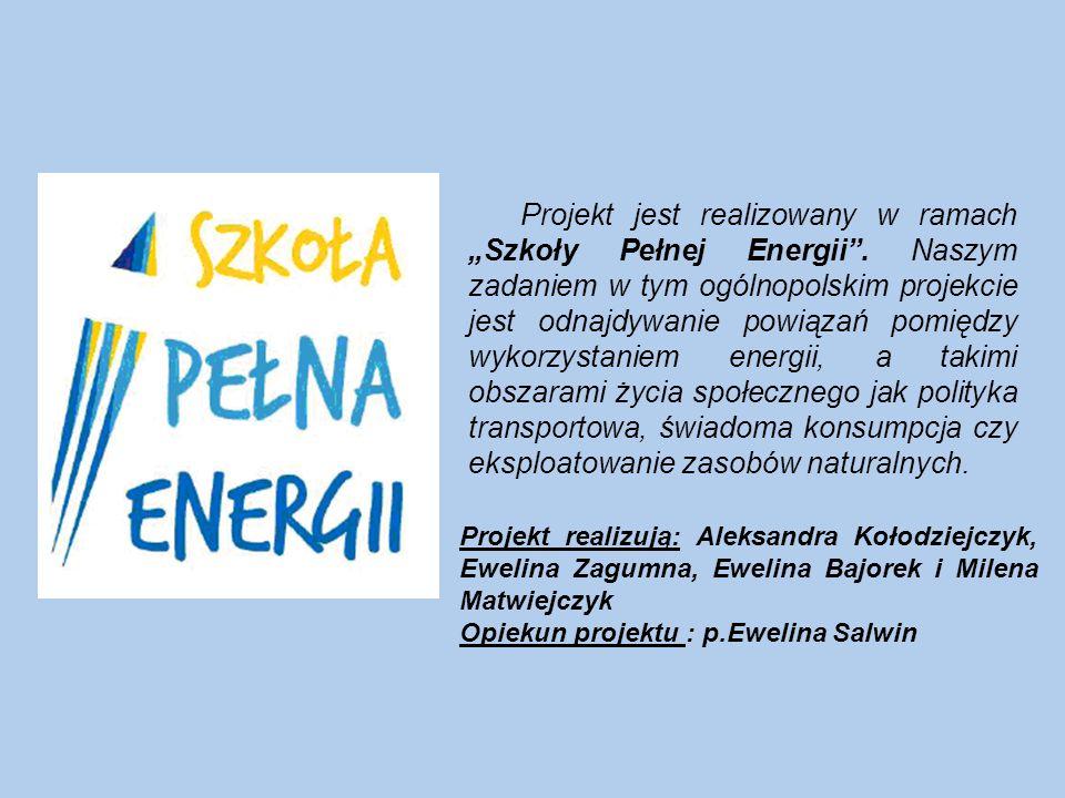 """Projekt jest realizowany w ramach """"Szkoły Pełnej Energii ."""