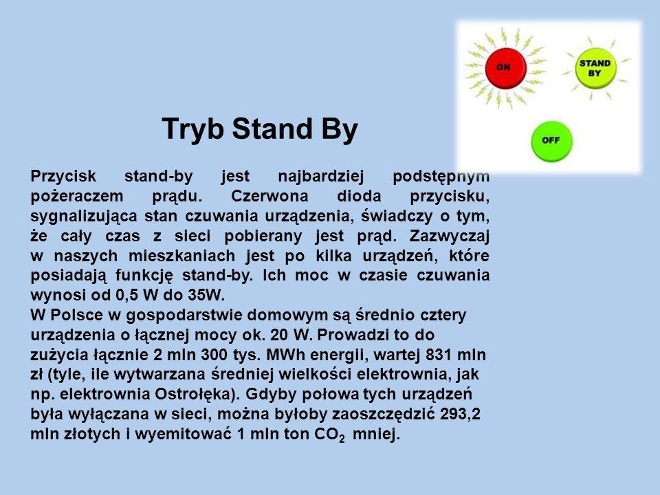 Tryb Stand By Przycisk stand-by jest najbardziej podstępnym pożeraczem prądu.