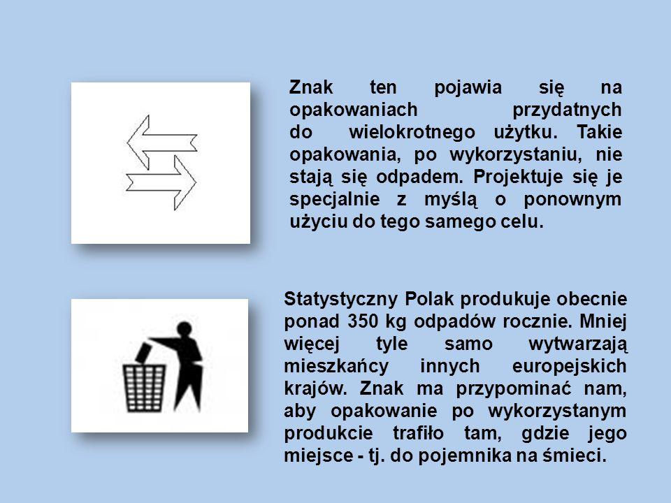 Znak ten pojawia się na opakowaniach przydatnych do wielokrotnego użytku.