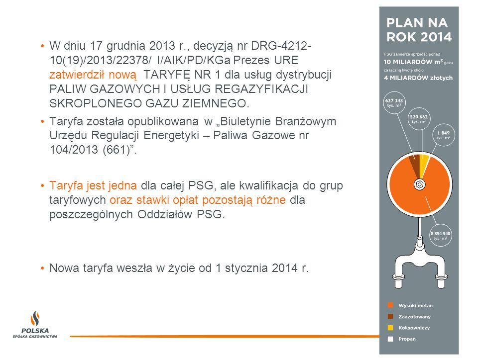 W dniu 17 grudnia 2013 r., decyzją nr DRG-4212- 10(19)/2013/22378/ I/AIK/PD/KGa Prezes URE zatwierdził nową TARYFĘ NR 1 dla usług dystrybucji PALIW GAZOWYCH I USŁUG REGAZYFIKACJI SKROPLONEGO GAZU ZIEMNEGO.