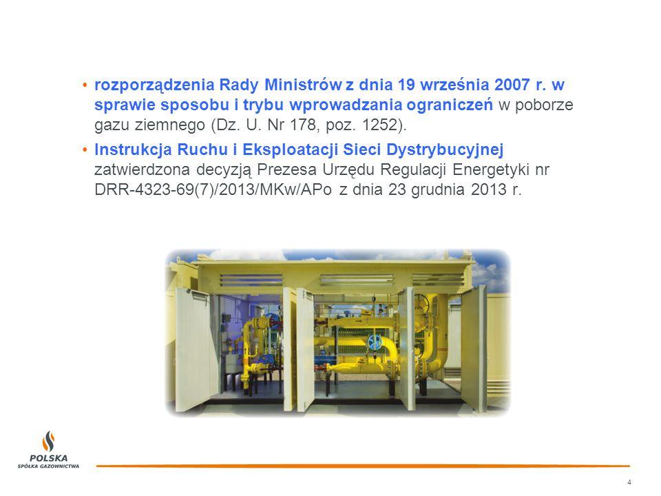 rozporządzenia Rady Ministrów z dnia 19 września 2007 r. w sprawie sposobu i trybu wprowadzania ograniczeń w poborze gazu ziemnego (Dz. U. Nr 178, poz