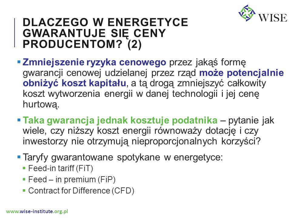 www.wise-institute.org.pl DLACZEGO W ENERGETYCE GWARANTUJE SIĘ CENY PRODUCENTOM? (2)  Zmniejszenie ryzyka cenowego przez jakąś formę gwarancji cenowe