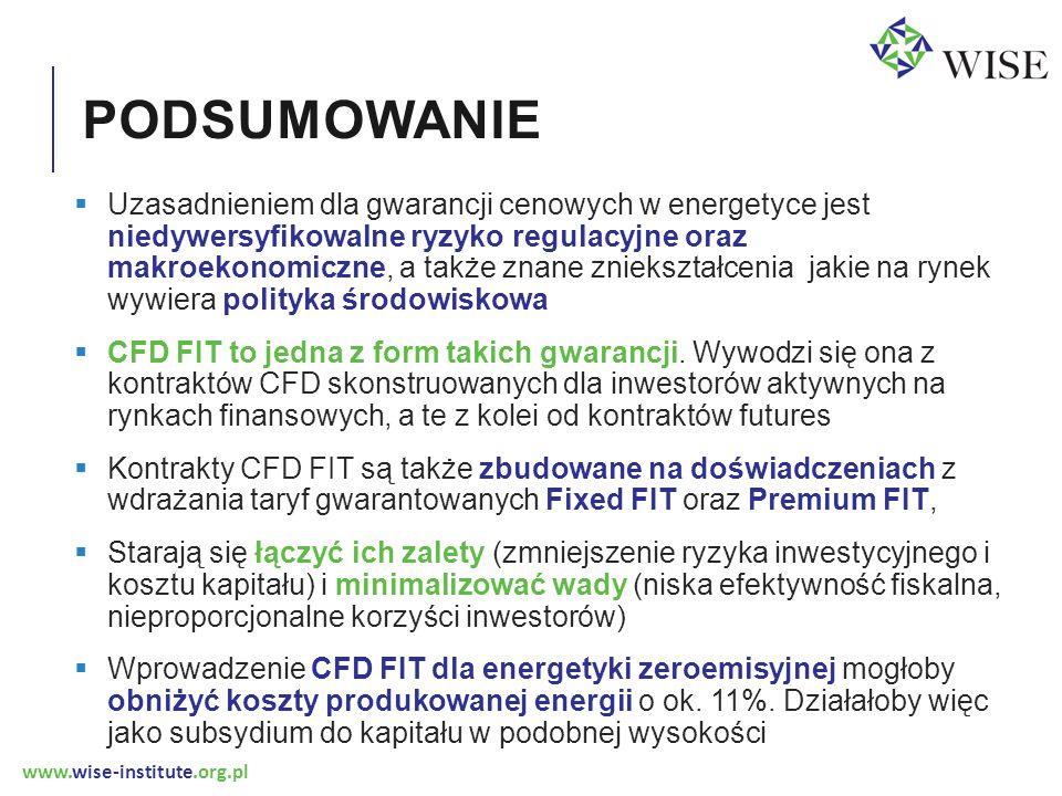 www.wise-institute.org.pl PODSUMOWANIE  Uzasadnieniem dla gwarancji cenowych w energetyce jest niedywersyfikowalne ryzyko regulacyjne oraz makroekono