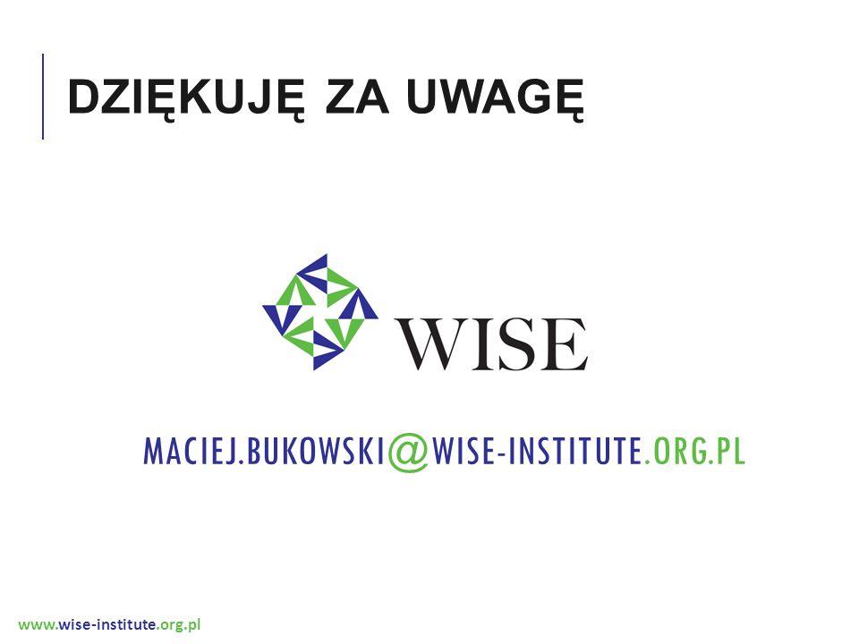 www.wise-institute.org.pl DZIĘKUJĘ ZA UWAGĘ MACIEJ.BUKOWSKI@WISE-INSTITUTE.ORG.PL