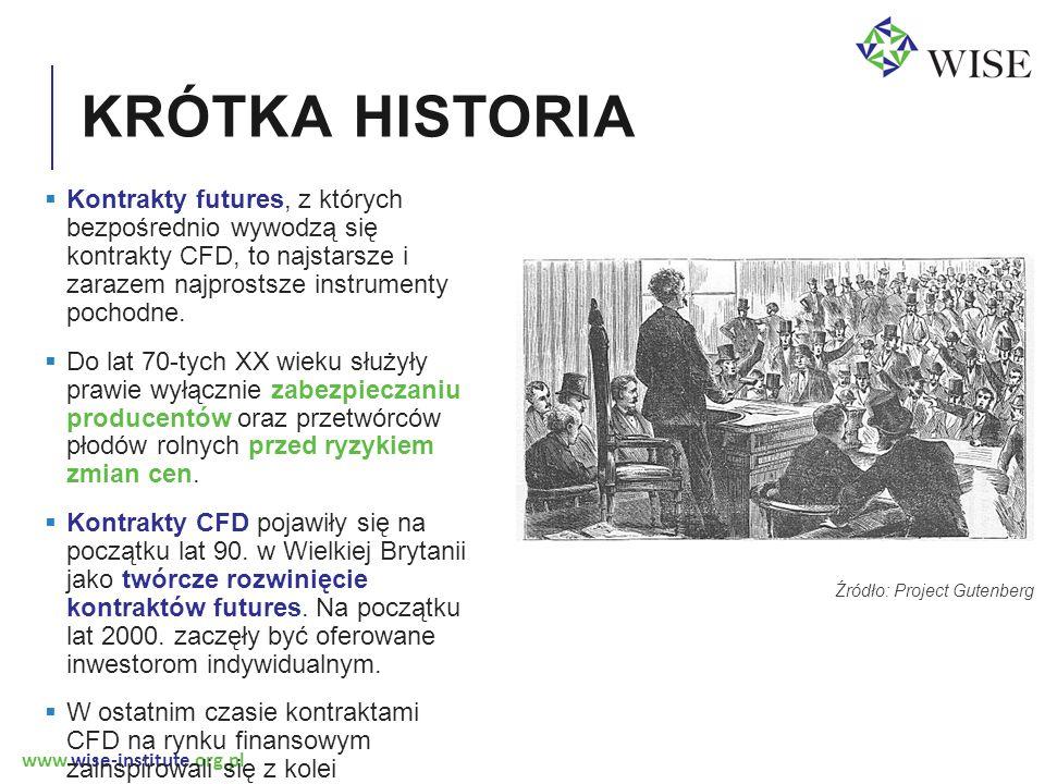 www.wise-institute.org.pl KRÓTKA HISTORIA Źródło: Project Gutenberg  Kontrakty futures, z których bezpośrednio wywodzą się kontrakty CFD, to najstarsze i zarazem najprostsze instrumenty pochodne.