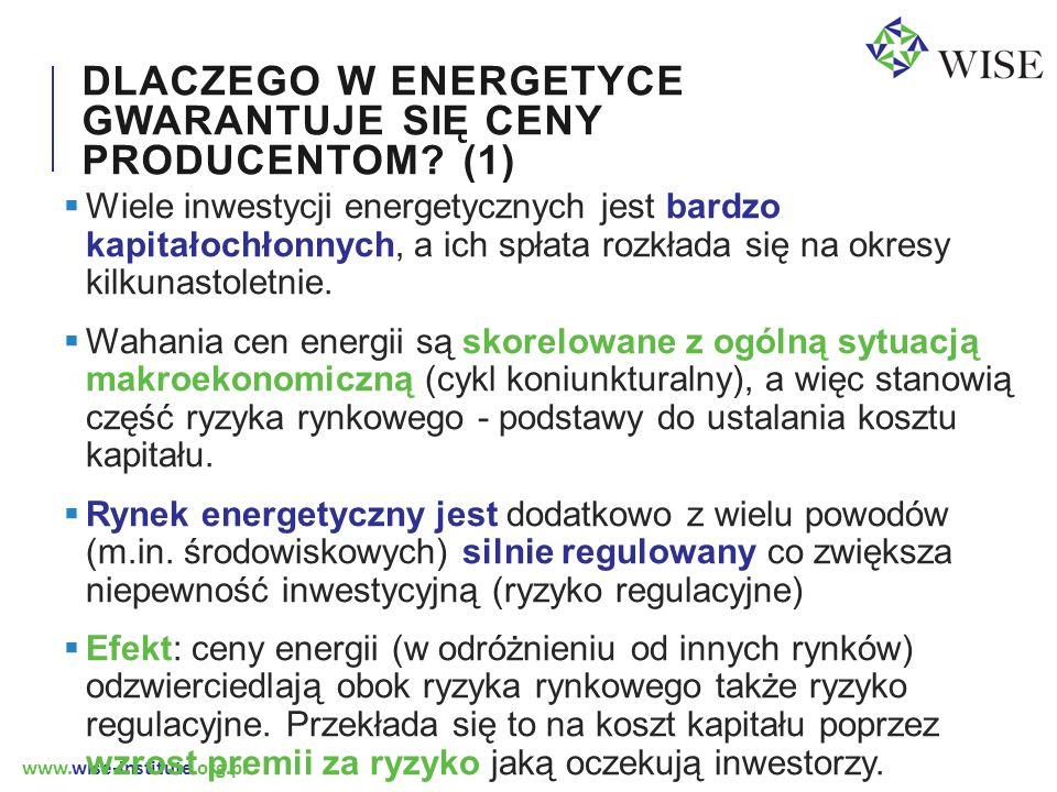 www.wise-institute.org.pl PODSUMOWANIE  Uzasadnieniem dla gwarancji cenowych w energetyce jest niedywersyfikowalne ryzyko regulacyjne oraz makroekonomiczne, a także znane zniekształcenia jakie na rynek wywiera polityka środowiskowa  CFD FIT to jedna z form takich gwarancji.