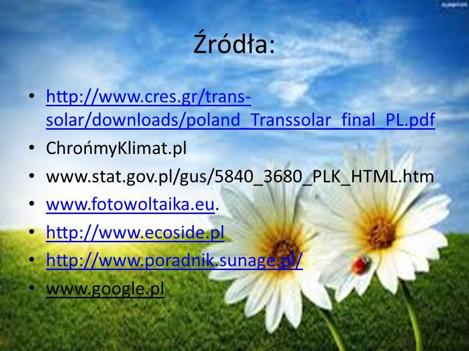 Źródła: http://www.cres.gr/trans- solar/downloads/poland_Transsolar_final_PL.pdf http://www.cres.gr/trans- solar/downloads/poland_Transsolar_final_PL.