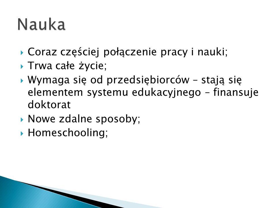  Coraz częściej połączenie pracy i nauki;  Trwa całe życie;  Wymaga się od przedsiębiorców – stają się elementem systemu edukacyjnego – finansuje doktorat  Nowe zdalne sposoby;  Homeschooling;