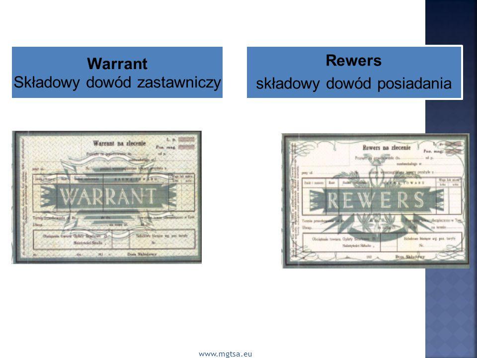 www.mgtsa.eu Warrant Składowy dowód zastawniczy Rewers składowy dowód posiadania