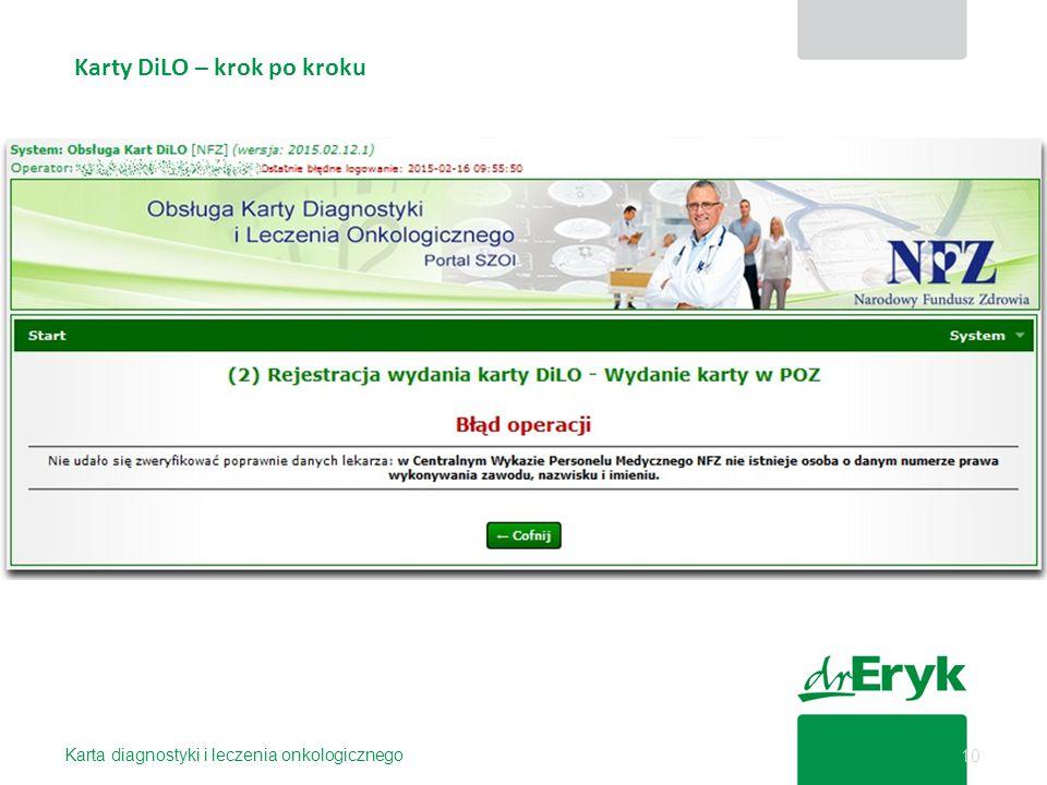 Karty DiLO – krok po kroku Karta diagnostyki i leczenia onkologicznego 10