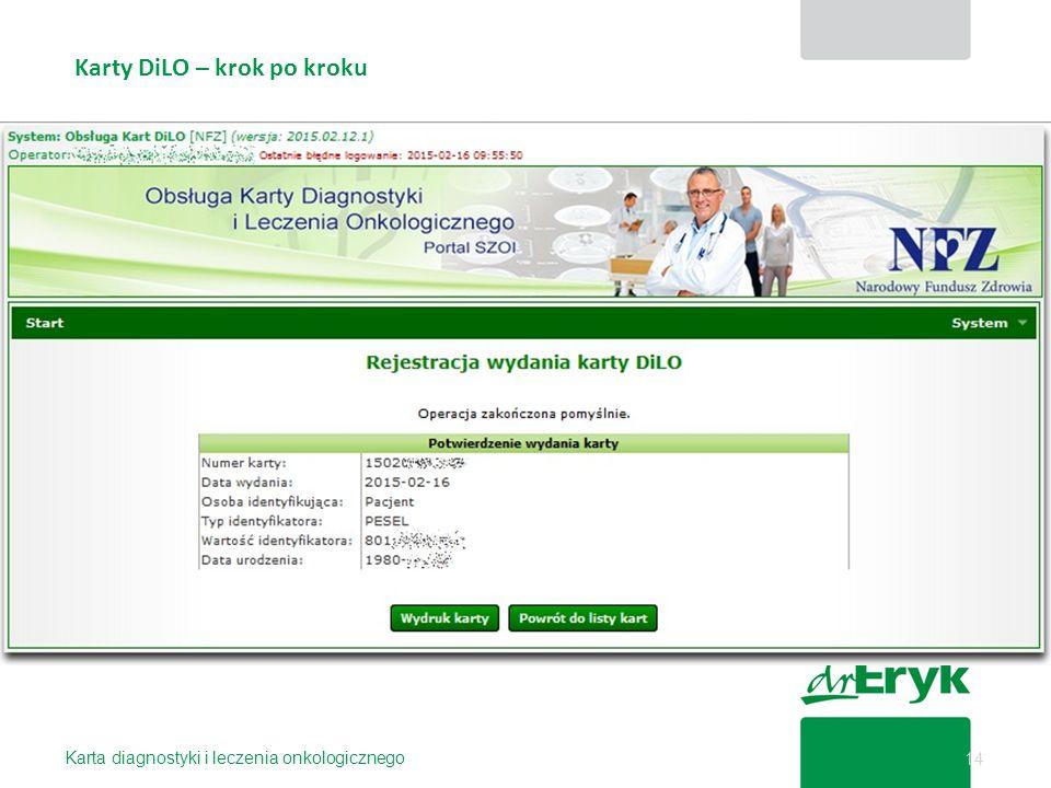 Karty DiLO – krok po kroku Karta diagnostyki i leczenia onkologicznego 14