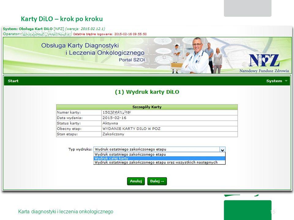 Karty DiLO – krok po kroku Karta diagnostyki i leczenia onkologicznego 15