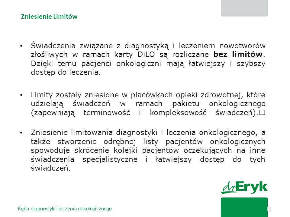 Zniesienie Limitów Karta diagnostyki i leczenia onkologicznego 18 Świadczenia związane z diagnostyką i leczeniem nowotworów złośliwych w ramach karty